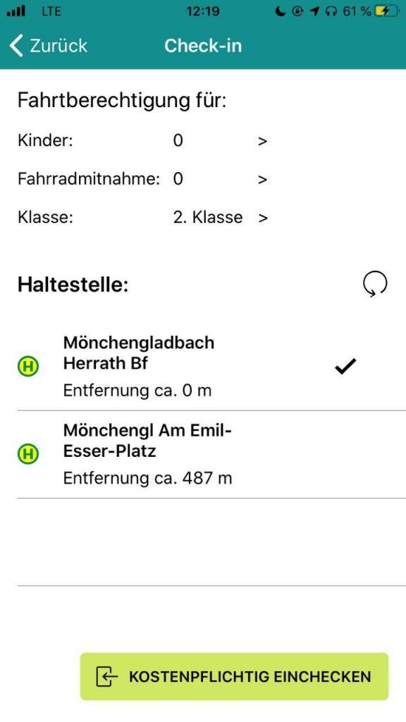 Screenshot der NextTicket-App