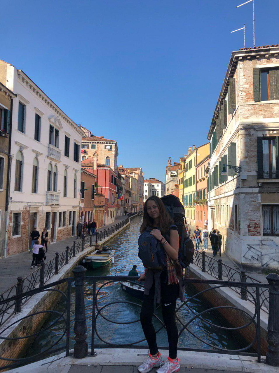 Frieda Krukenkamp auf Interrail-Reise, hier in Venedig